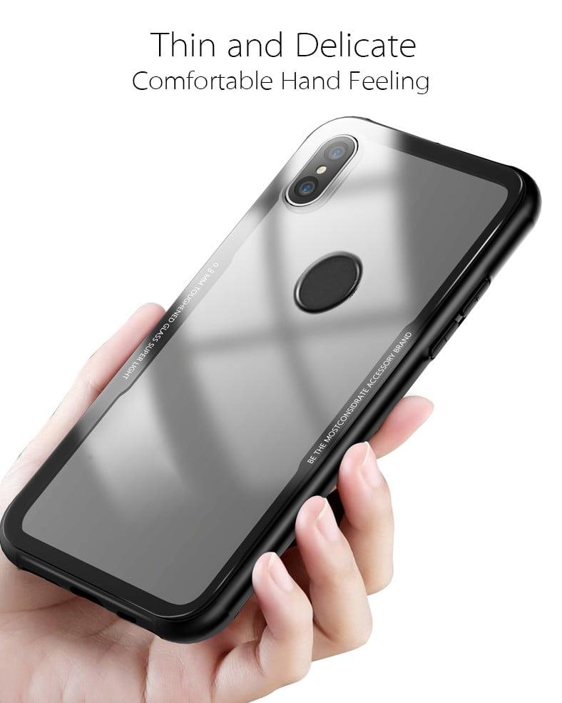56f7972ec49 Vaku ® Xiaomi Redmi Note 5 Pro GLASSINO Luxurious Edition Ultra-Shine  Silicone Frame Ultra-Thin Case Transparent Back Cover