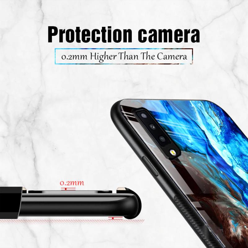 VAKU ® Samsung Galaxy A7 (2018) Emperador Light Series Ultra-Shine  Luxurious Tempered Finish Silicone Frame Thin Back Cover