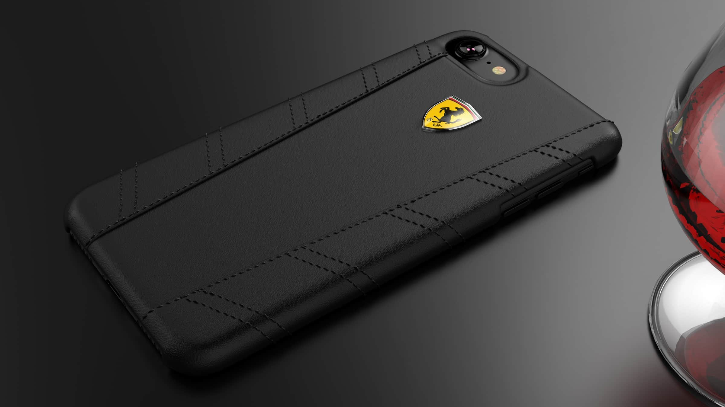 watch 942f7 25df1 Ferrari ® Apple iPhone 8 Plus GTR EDITION Leather Stitched Dual-Material  Leather Back Cover