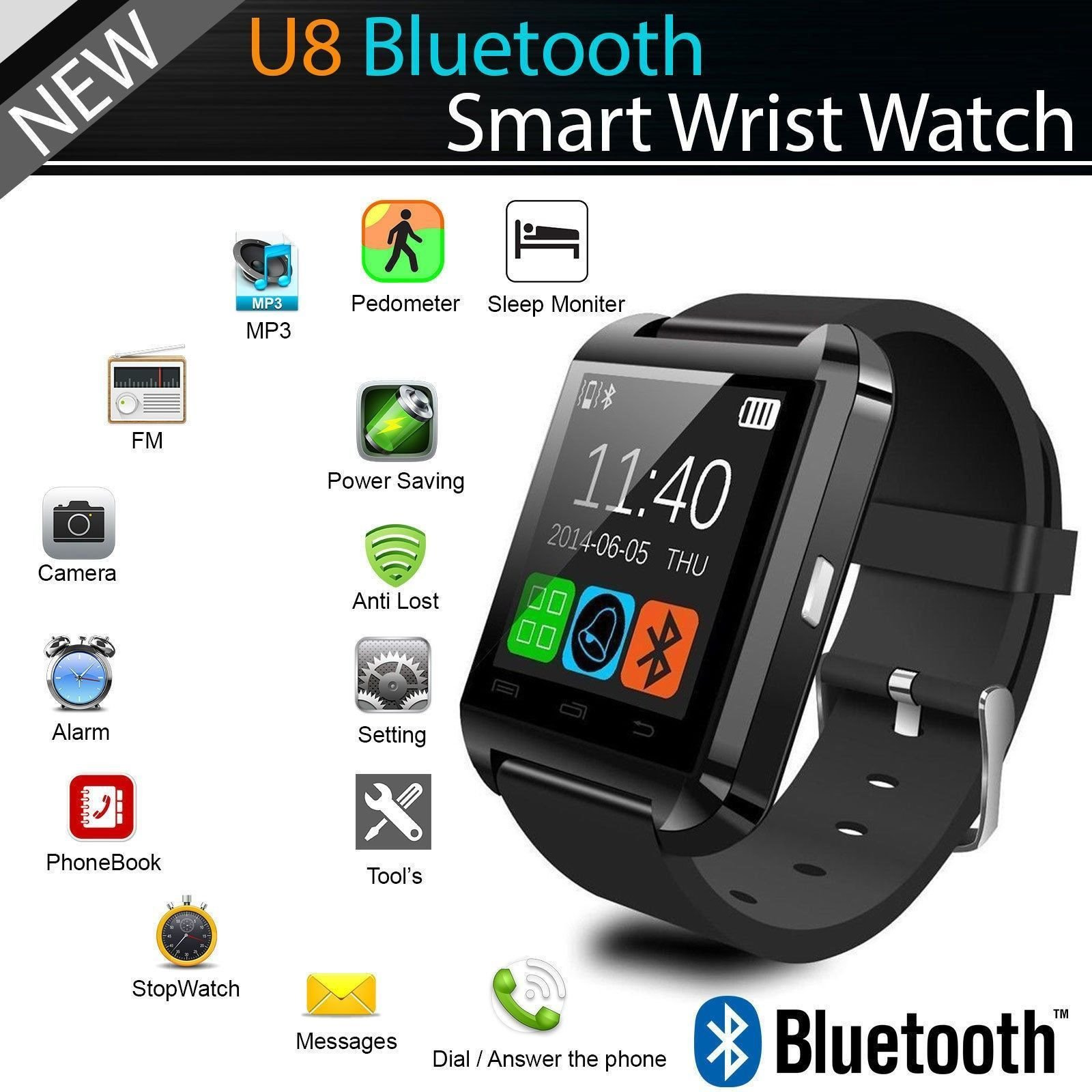 SmartWatch ® U8 Touchscreen 1.48in TFT LCD Bluetooth v3 + Activity Tracker + Music Controller ...