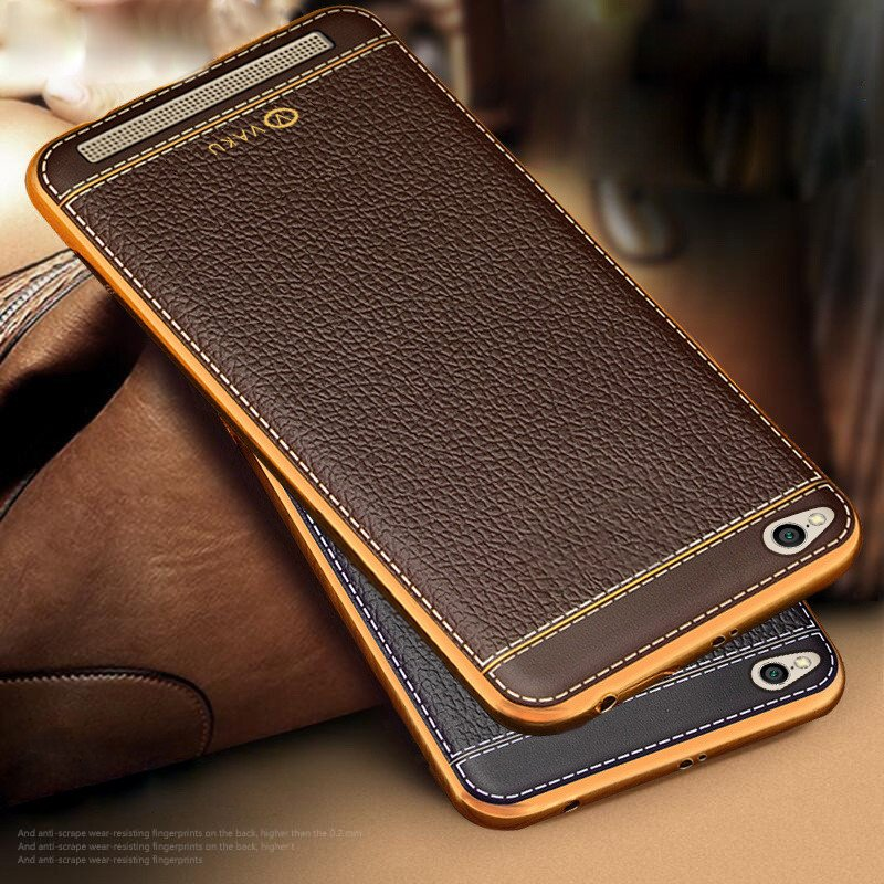 outlet store 2aada 685ac Vaku ® Xiaomi Redmi 5A Leather Stitched Gold Electroplated Soft TPU Back  Cover