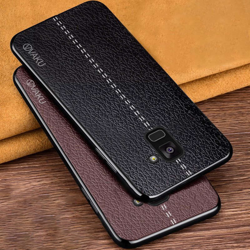sports shoes 68fc8 b29bf Vaku ® Samsung Galaxy A8 Plus Lexza Series Double Stitch Leather Shell with  Metallic Camera Protection Back Cover