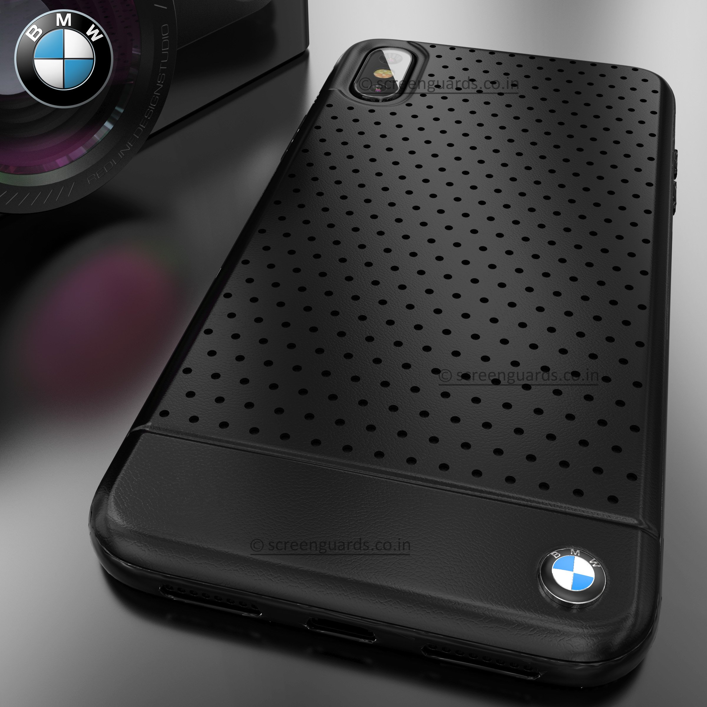 detailed look 90ec0 334bc BMW ® iPhone XS Max Dotted M4 Coupe Leather Edition Black Cover