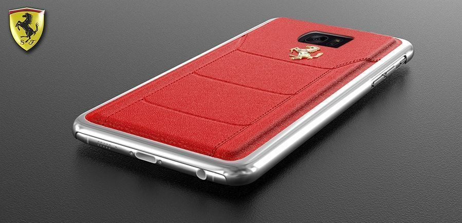 eaafb01d2 Ferrari ® Samsung S7 Edge Official 599 GTB Logo Double Stitched  Dual-Material Pure Leather Back Cover