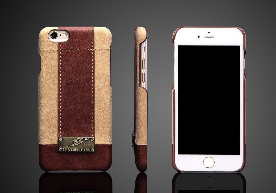 watch b930a 3f83a Fierre Shann ® Apple iPhone 6 / 6S Genuine Leather Case with Metal Plate  Back Cover