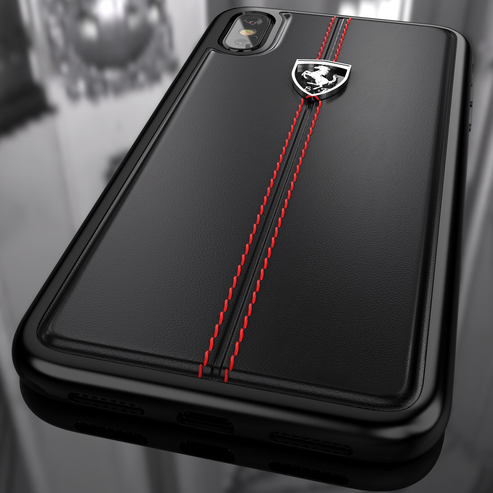 baaa01f0aad Ferrari ® Apple iPhone X Vertical Contrasted Stripe - Material Heritage  leather Hard Case back cover