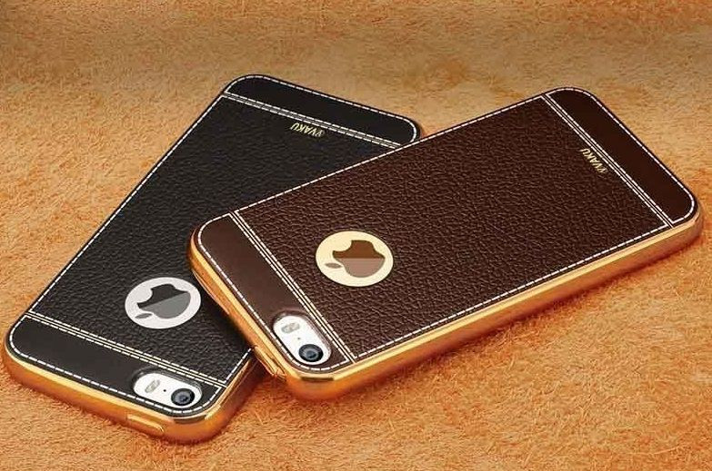 sale retailer 70c21 e20d6 VAKU ® Apple iPhone 5S / SE / 5 Leather Stiched Gold Electroplated Soft TPU  Back Cover