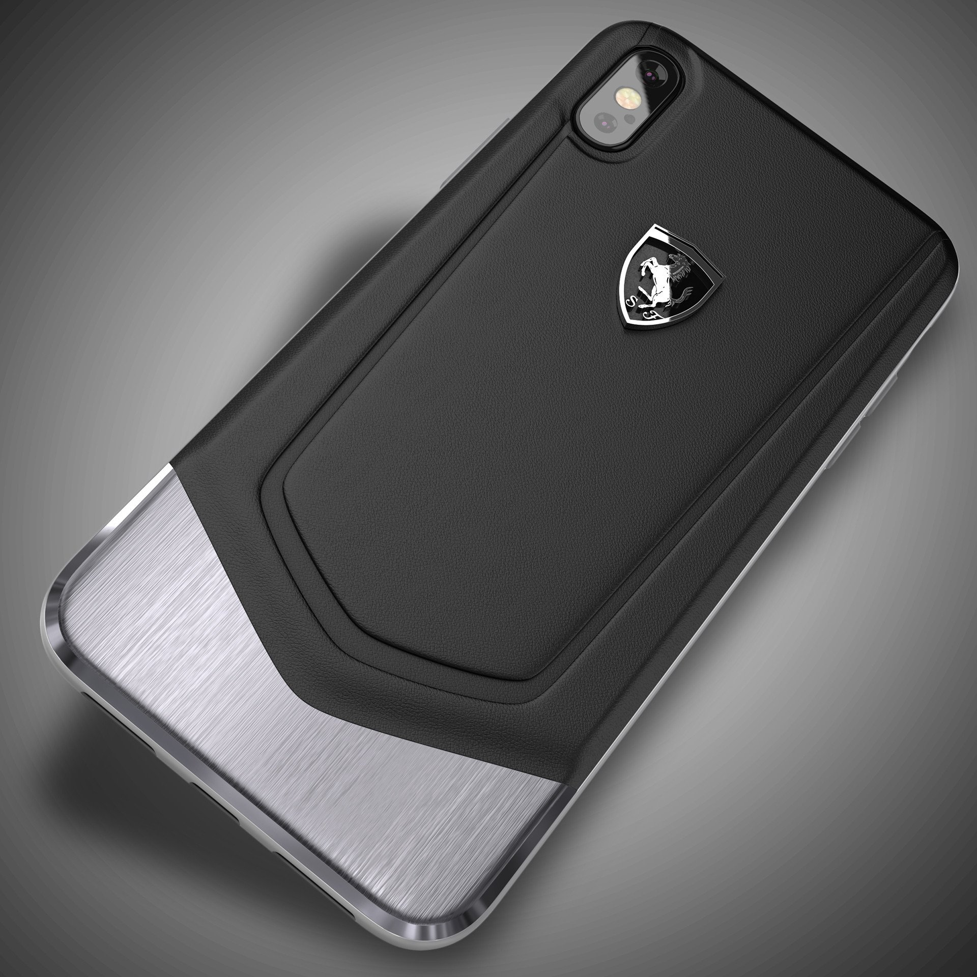 size 40 06a05 9fc01 Ferrari ® Apple iPhone X Moranello Series Luxurious Leather + Metal Case  Limited Edition Back Cover