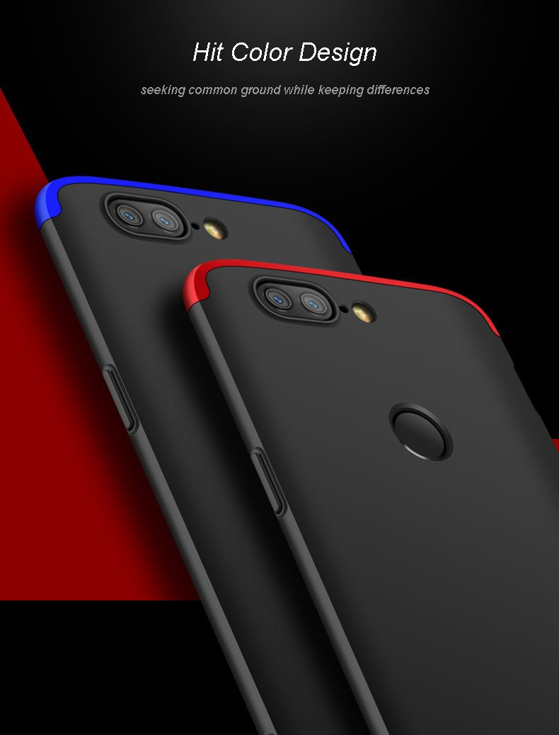 premium selection 8e4ad d3555 GKK ® OnePlus 5T 5-in-1 360 Series PC Case Dual-Colour Finish Ultra-thin  Slim Front Case + Back Cover
