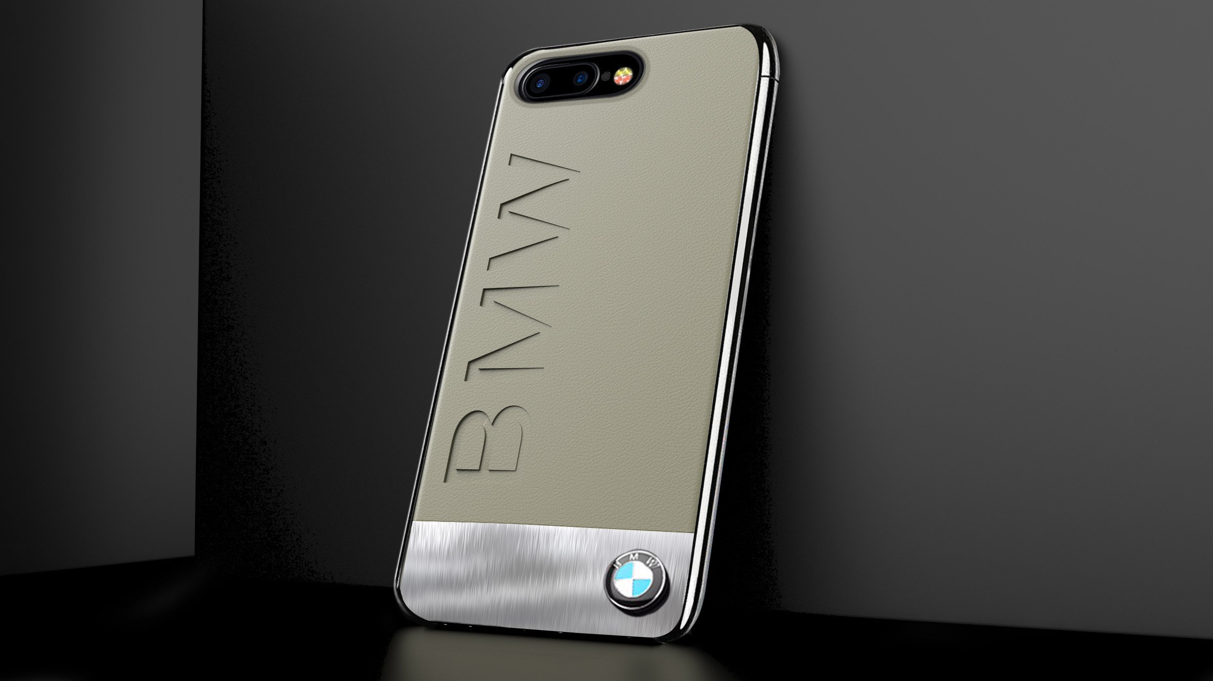 newest c8280 50465 BMW ® Apple iPhone 8 Plus Official Luxurious Leather + Metal Case Limited  Edition Back Cover