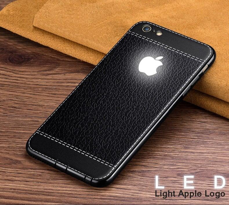 promo code 3f85d 87274 VAKU ® Apple iPhone 6 / 6S Leather Stitched LED Light Illuminated Apple  Logo 3D Designer Case Back Cover