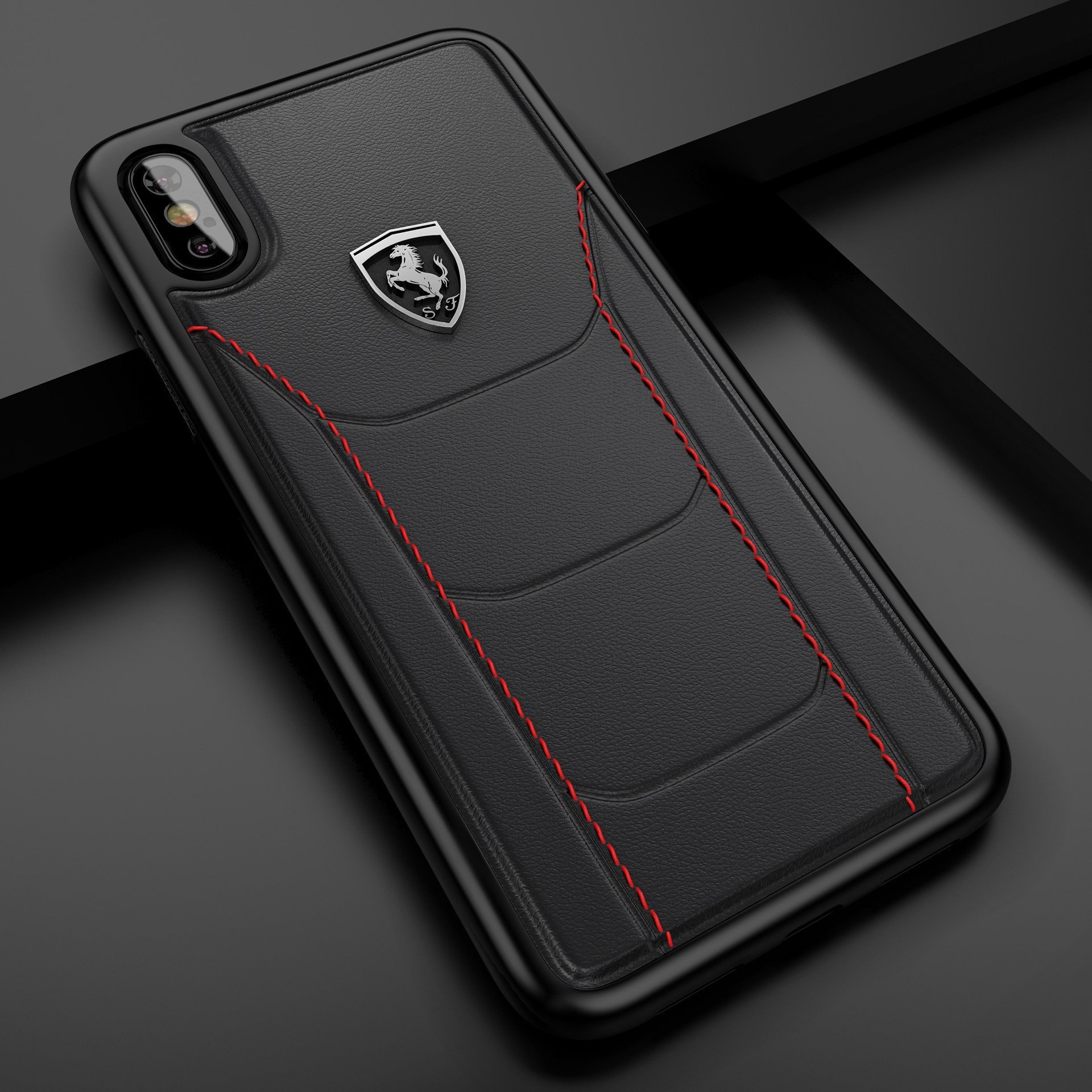 online retailer cfb0b 59fa2 Ferrari ® Apple iPhone X Official 488 GTB Logo Double Stitched  Dual-Material Pure Leather Back Cover