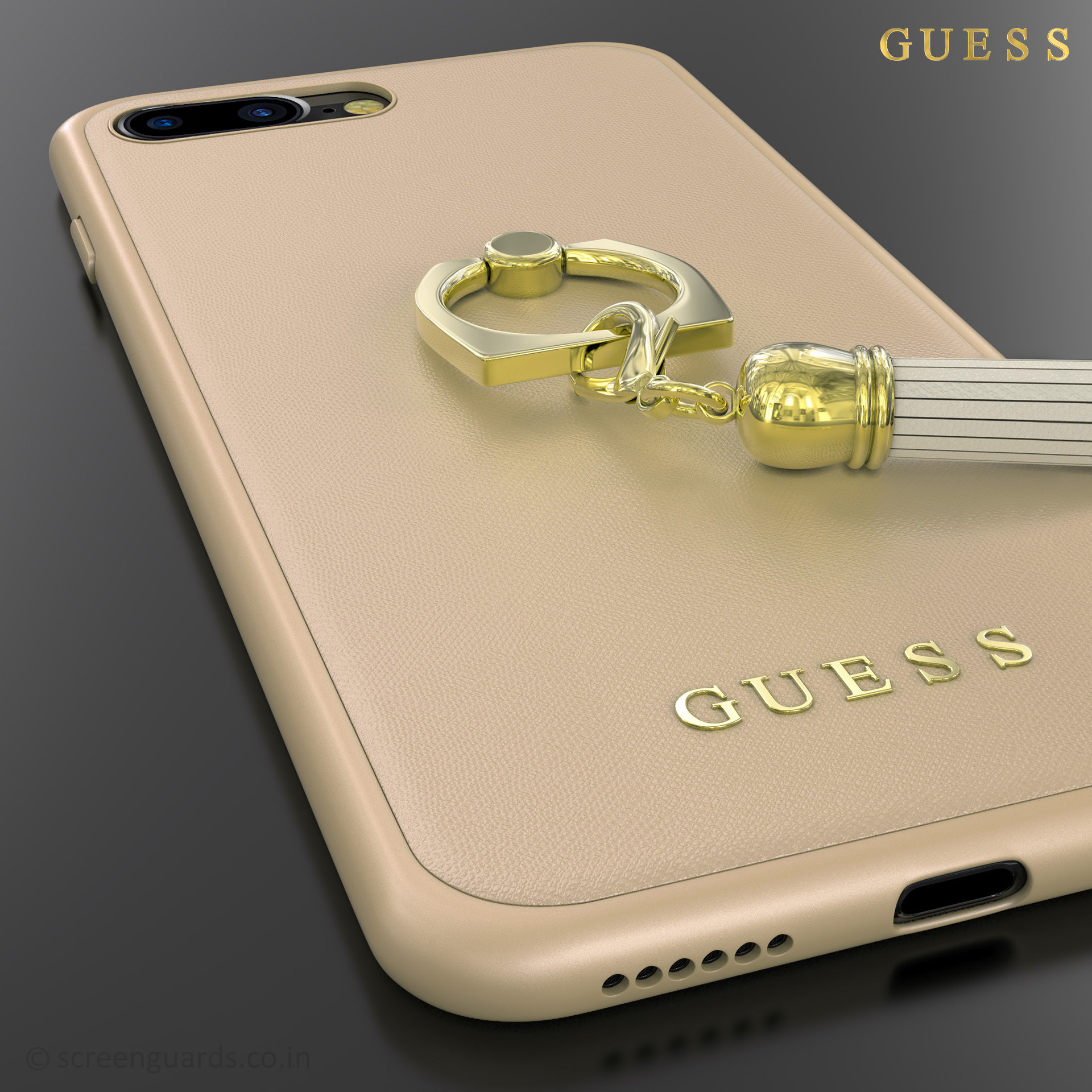 premium selection 93fc8 75563 GUESS ® Apple iPhone 7 plus Premium Luther Leather 2K Gold Electroplated +  inbuilt ring stand + detachable Tassels Back Case
