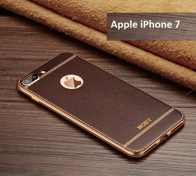 VAKU ® Apple iPhone 7 Leather Stiched Gold Electroplated Soft TPU Back Cover 8ef4879901