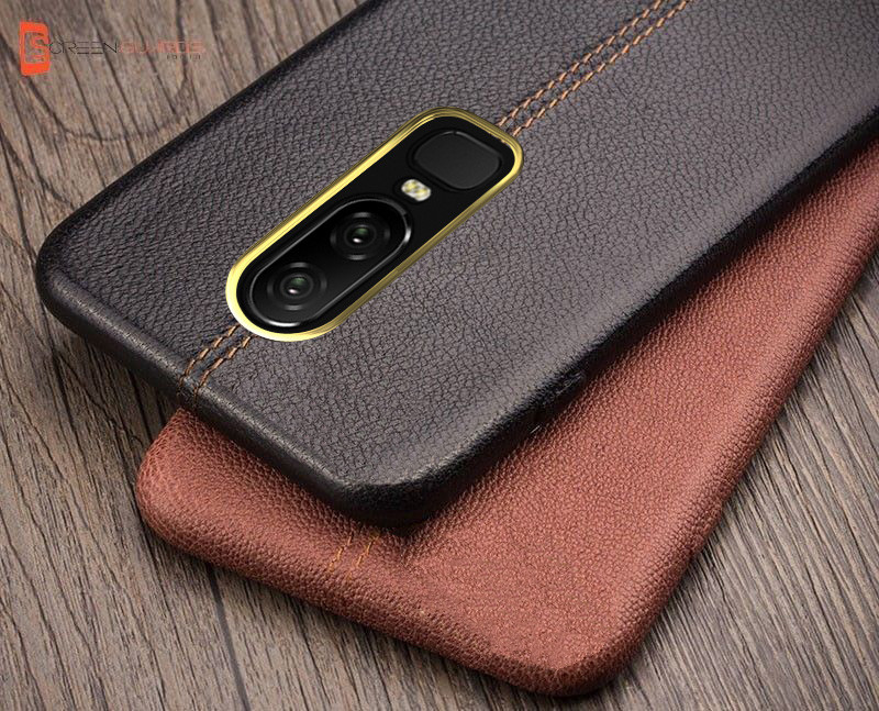 reputable site 6ab83 61952 Vaku ® OnePlus 6 Lexza Series Double Stitch Leather Shell with Metallic  Camera Protection Back Cover