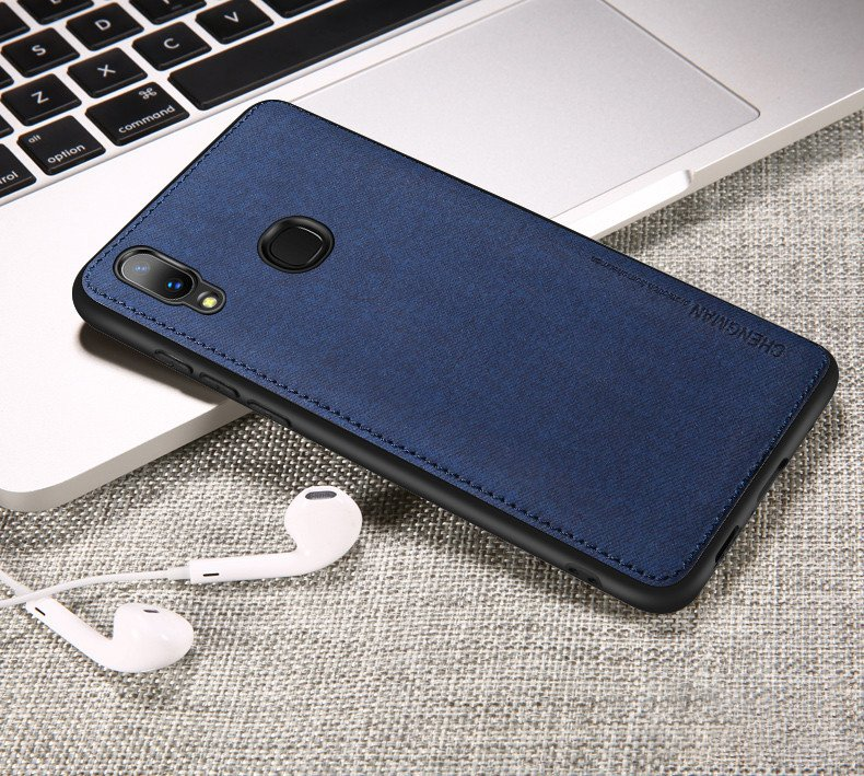 low priced 33890 a9eac Vaku ® Vivo V9 Youth / V9 Luxico Series Hand-Stitched Cotton Textile Ultra  Soft-Feel Shock-proof Water-proof Back Cover