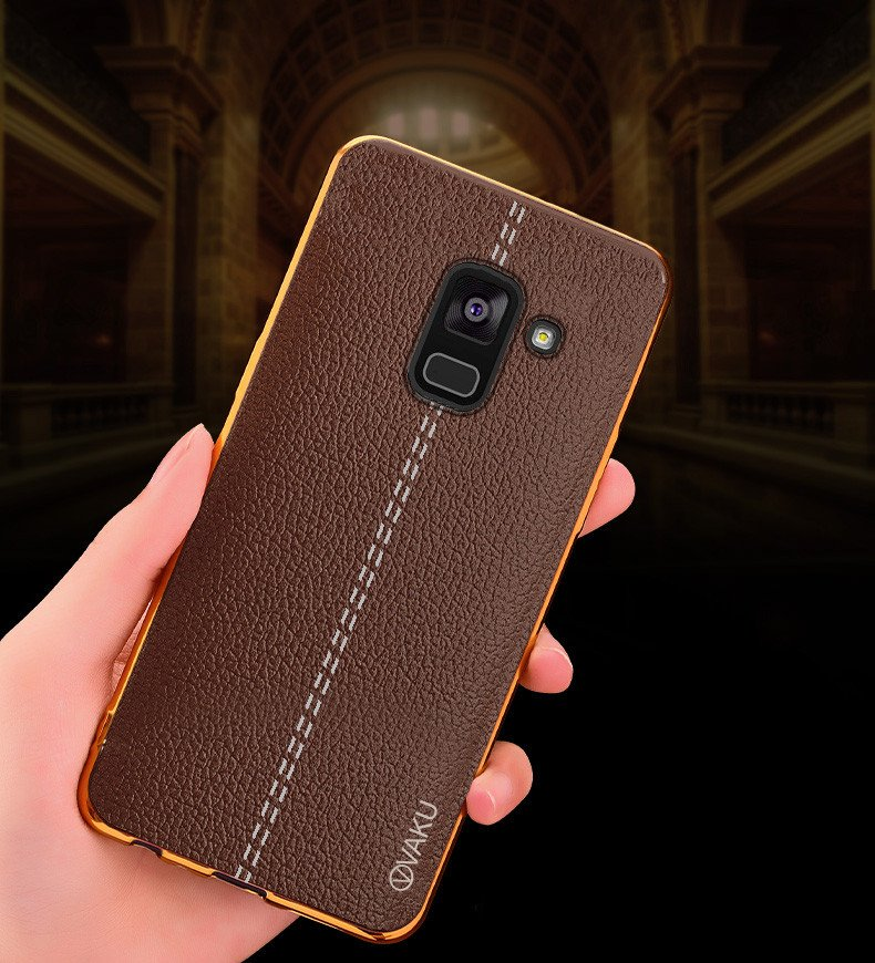 sports shoes a8739 26c8a Vaku ® Samsung Galaxy A8 Plus Lexza Series Double Stitch Leather Shell with  Metallic Camera Protection Back Cover