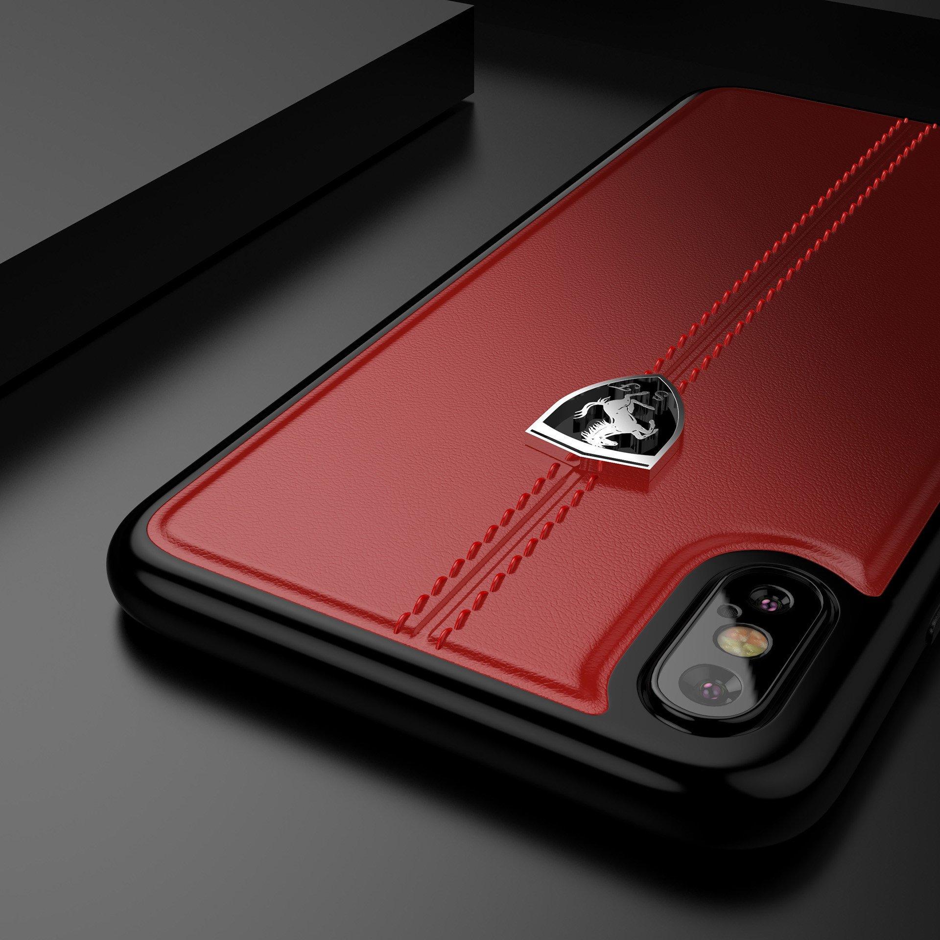 big sale ca838 67a5c Ferrari ® Apple iPhone X Vertical Contrasted Stripe - Material Heritage  leather Hard Case back cover