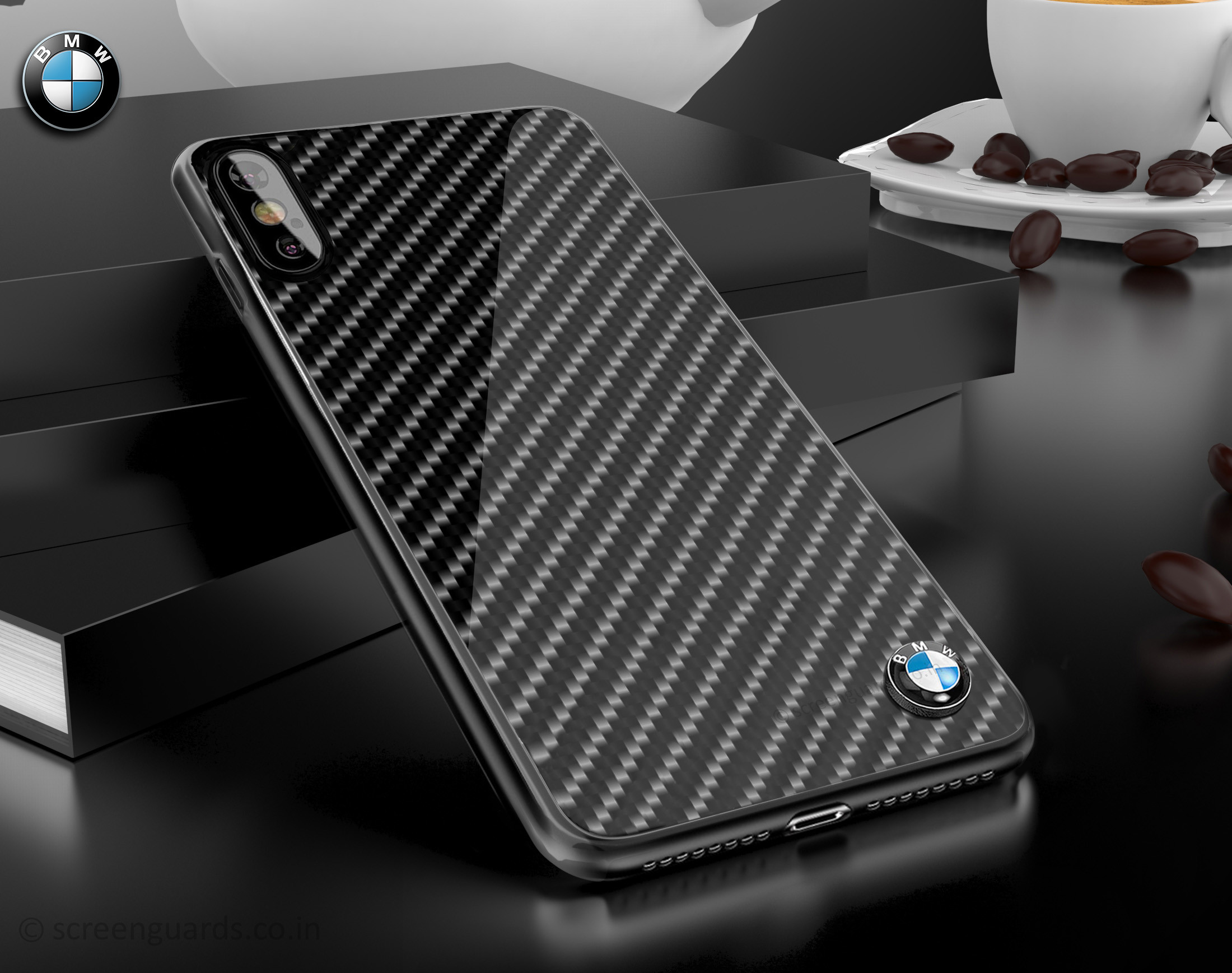 detailed look 15be8 abd5c BMW ® Apple iPhone XS Max Glossy Tempered Carbon Fibre Back cover