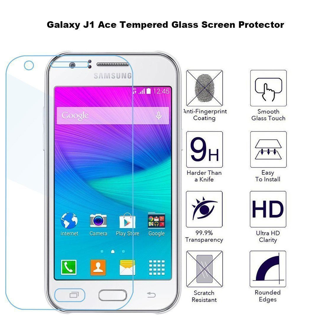 Dr Vaku R Samsung J1 Ace Ultra Thin 02mm 25D Curved Edge Tempered Glass Screen Protector Transparent