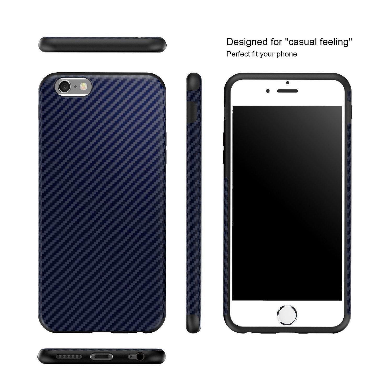 c2d8fec143 Vaku ® Apple iPhone 6 Plus / 6S Plus Carbon Fiber Finish Gel Grip Cover +