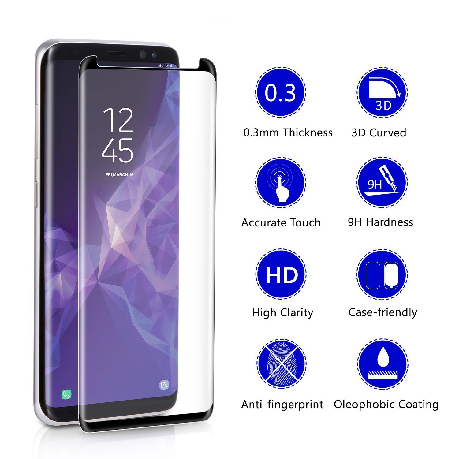 Dr. Vaku ® Samsung Galaxy S9 3D Curved Edge Full Screen Tempered Glass - Galaxy S9 - Samsung