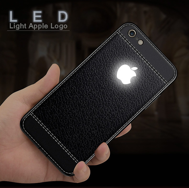 watch 8c0cc 8caf4 VAKU ® Apple iPhone 7 Leather Stitched LED Light Illuminated Apple Logo 3D  Designer Case Back Cover