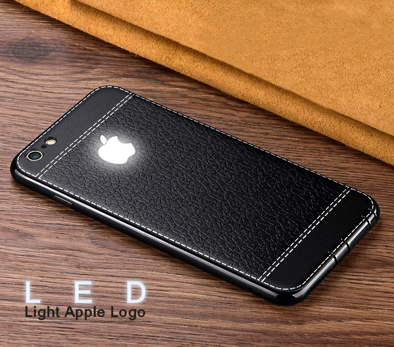 6e00377ce7d VAKU ® Apple iPhone 6 / 6S Leather Stitched LED Light Illuminated Apple  Logo 3D Designer