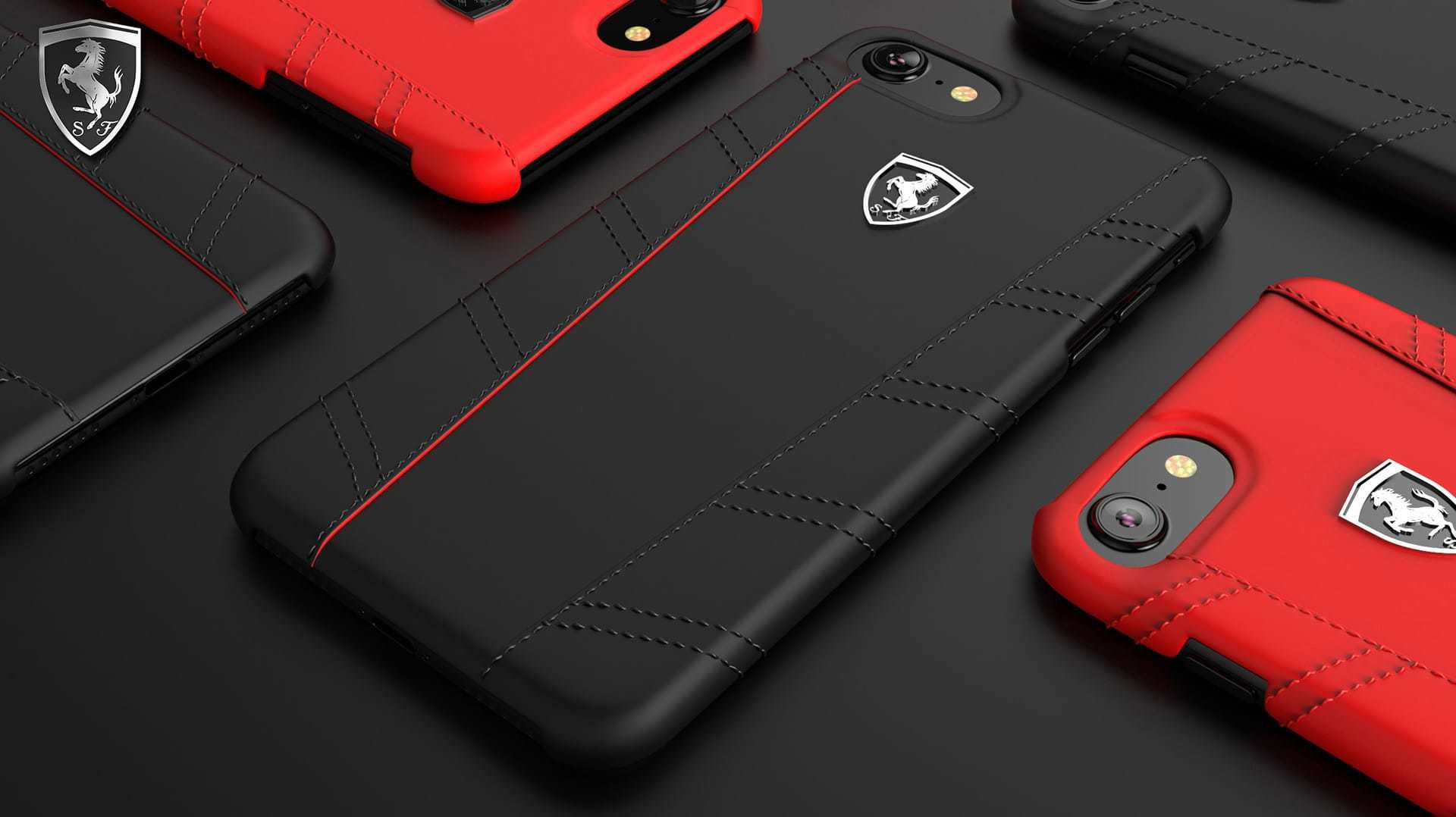 brand new c2b0c 051d1 Ferrari ® Apple iPhone 7 Italian Series Leather Stitched Dual-Material PU  Leather Back Cover