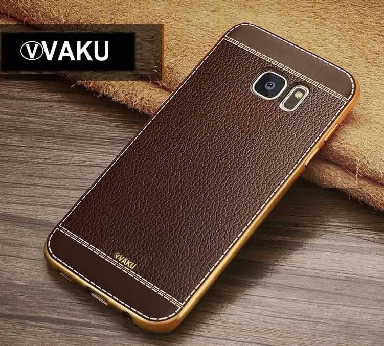detailed look 8bcb4 7b137 VAKU ® Samsung Galaxy S6 Edge Plus Leather Stiched Gold Electroplated Soft  TPU Back Cover