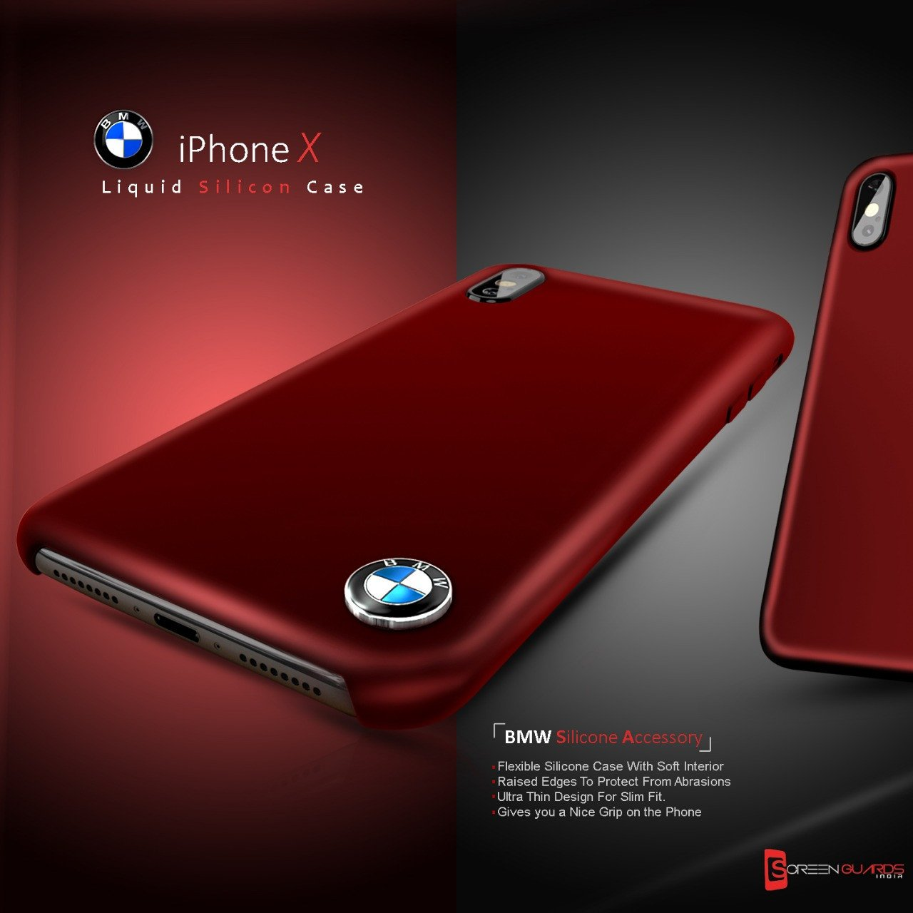 Bmw 174 Apple Iphone X Liquid Silicon Luxurious Case Limited Edition Back Cover Screen Guards India