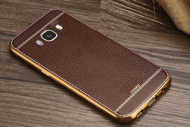 promo code 78ce2 2e256 VAKU ® Samsung Galaxy J5 (2016) Leather Stiched Gold Electroplated Soft TPU  Back Cover