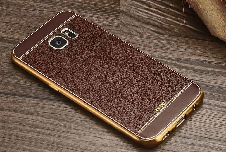 huge selection of ea76b b6874 VAKU ® Samsung Galaxy Note 5 Leather Stiched Gold Electroplated Soft TPU  Back Cover