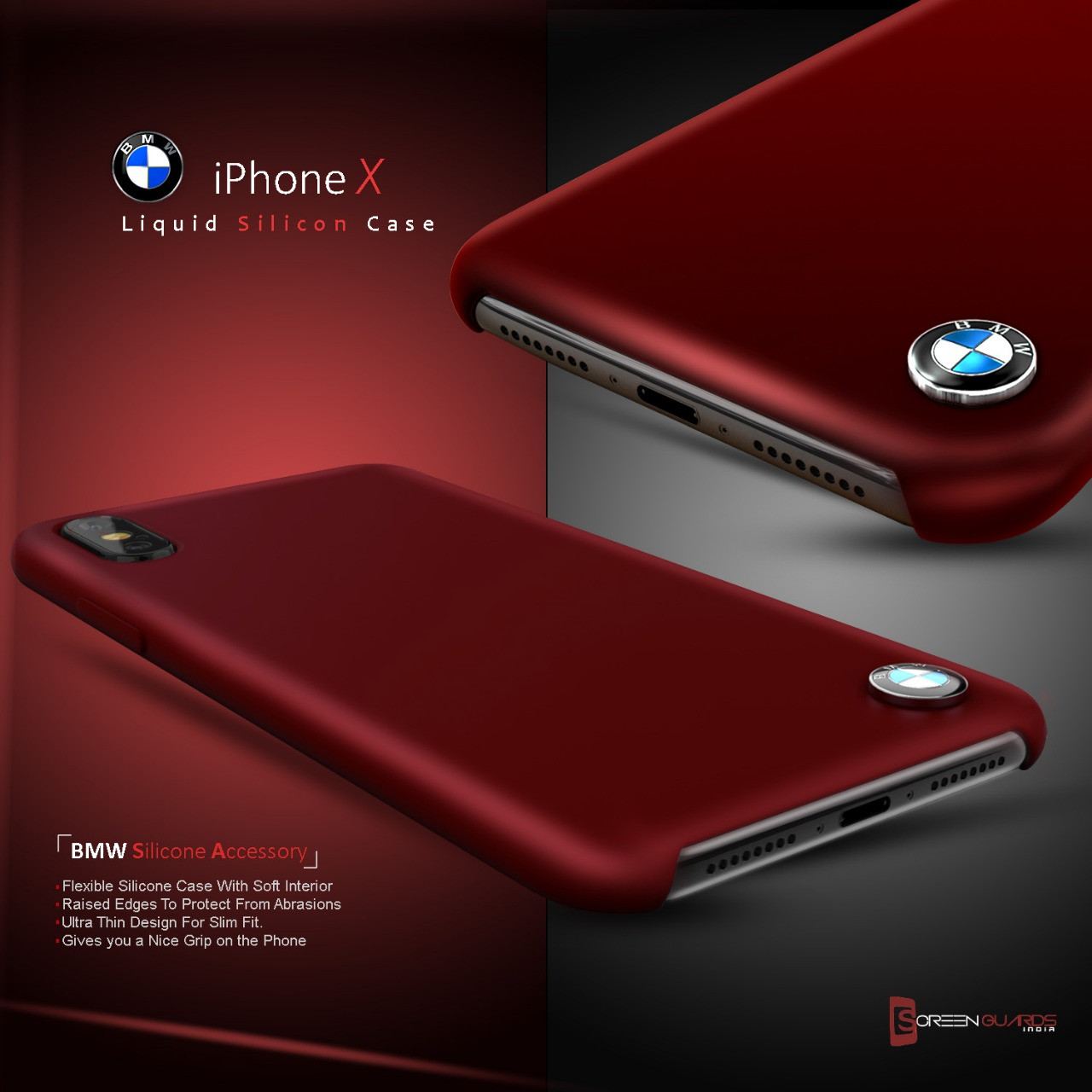 san francisco 247d1 6b93d BMW ® Apple iPhone X Liquid Silicon Luxurious Case Limited Edition Back  Cover