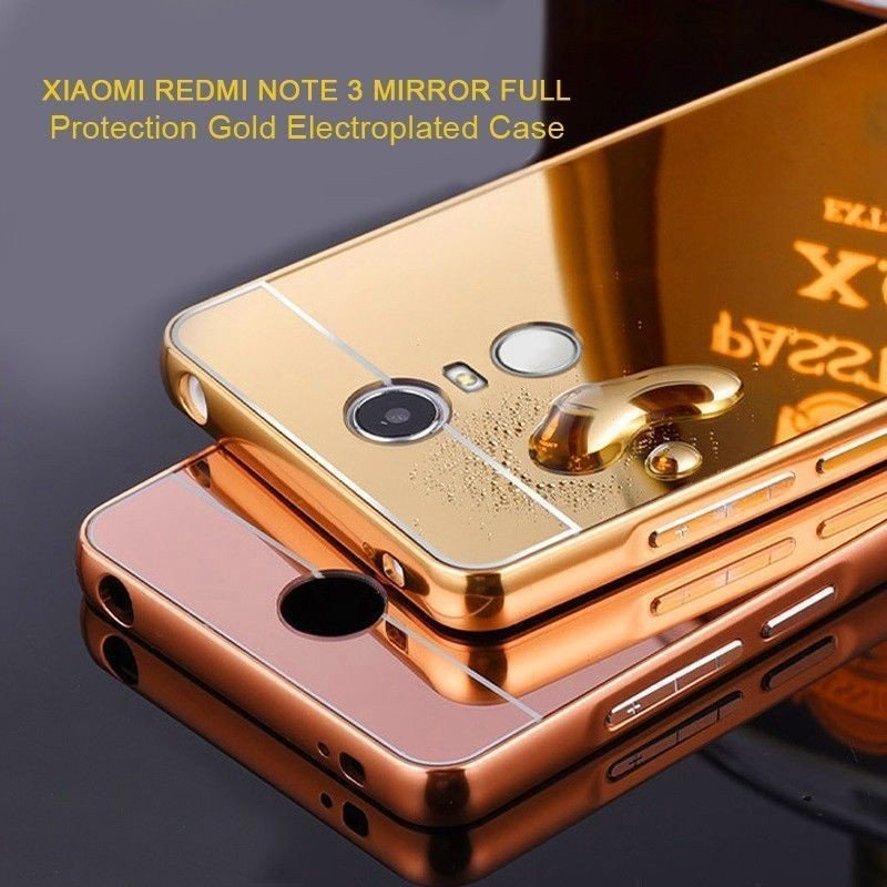 buy popular 5ab35 e9649 VAKU ® Xiaomi Redmi Note 3 Mirror Full Protection Gold Electroplated Case