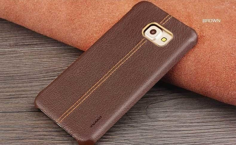 official photos 75290 e37a8 Vaku ® Samsung Galaxy S6 Edge Plus Lexza Series Double Stitch Leather Shell  with Metallic Logo Display Back Cover
