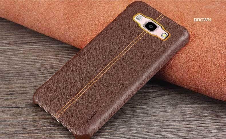 the best attitude 8294b 62e05 Vaku ® Samsung Galaxy J3 (2016) Lexza Series Double Stitch Leather Shell  with Metallic Logo Display Back Cover