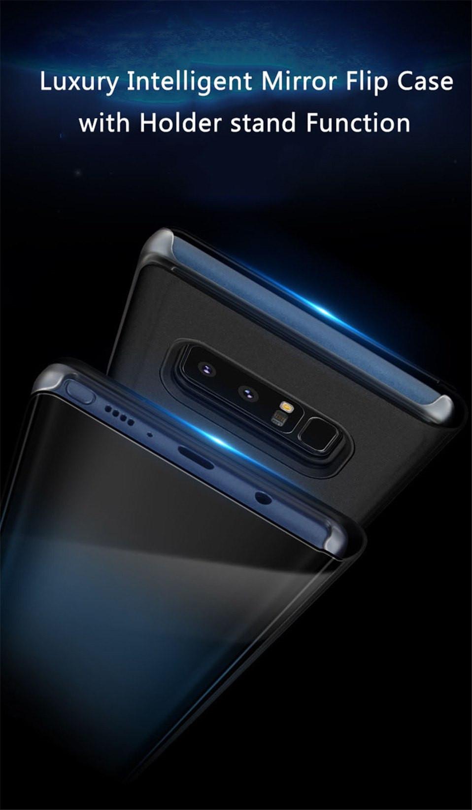 Vaku ® Samsung Galaxy A7 (2018) Mate Smart Awakening Mirror Folio Metal  Electroplated PC Flip Cover