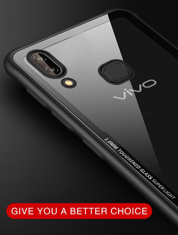 reputable site a51bd fcf0b Vaku ® Vivo V9 GLASSINO Luxurious Edition Ultra-Shine Silicone Frame  Ultra-Thin Case Transparent Back Cover