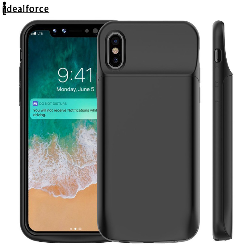 quality design 1dd96 7a442 Rock ® iPhone X Battery Case Top TPU Material High Power 6,000 mAh  Wire-Less Battery Case Black