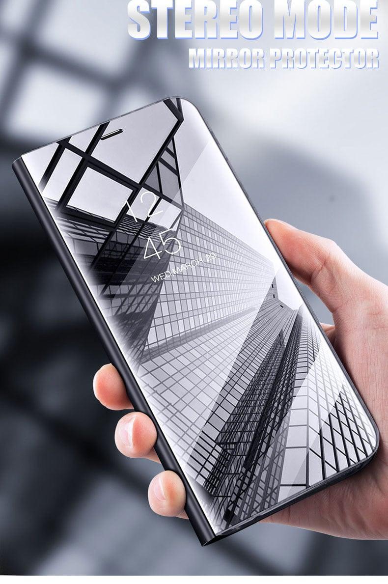 new style 76594 4cb29 Vaku ® Xiaomi Redmi Note 6 Pro Mate Smart Awakening Mirror Folio Metal  Electroplated PC Flip Cover