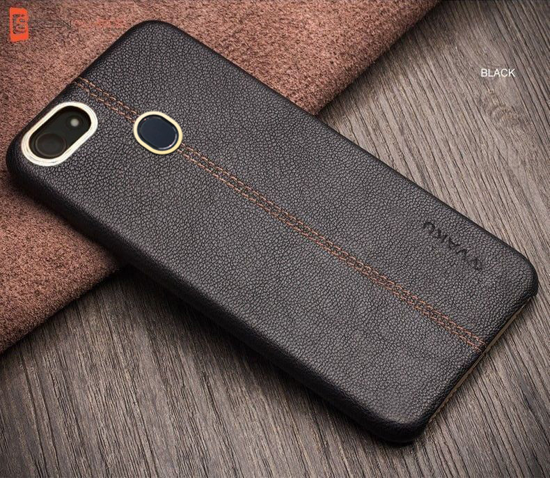 reputable site 2e1a4 318bd Vaku ® Oppo F5 Youth Lexza Series Double Stitch Leather Shell with Metallic  Camera Protection Back Cover