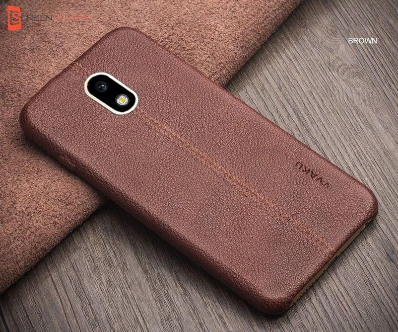 best service 822b9 b6da1 Vaku ® Samsung Galaxy J7 Pro Lexza Series Double Stitch Leather Shell with  Metallic Camera Protection Back Cover