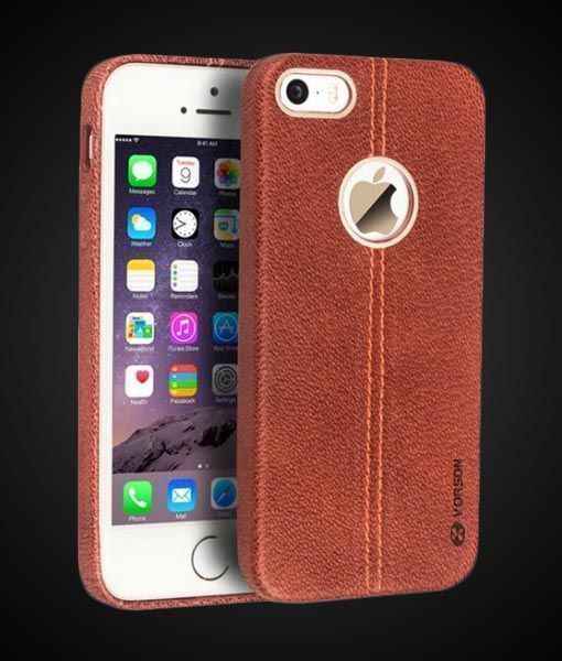 san francisco b8307 4ab59 Vorson ® Apple iPhone 5 / 5S / SE Lexza Series Double Stitch Leather Shell  with Metallic Logo Display Back Cover