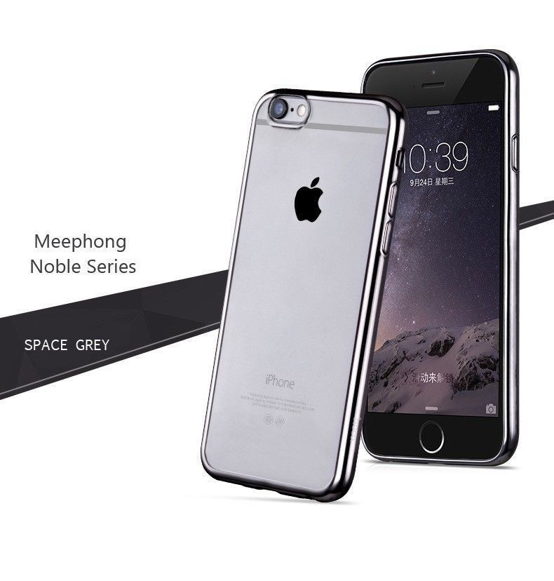 low priced fe8cd 79bd3 MeePhone ® Apple iPhone 6 Plus / 6S Plus Noble Series Metal Electroplating  Bumper Transparent Back Cover