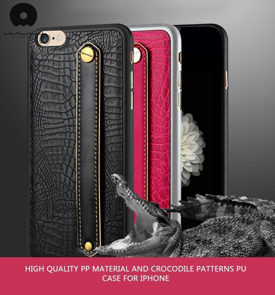 official photos ad1f1 8855a WUW ® Apple iPhone 6 / 6S Luxury Genuine Python Finish Leather + Hand-Grip  Strap Back Cover