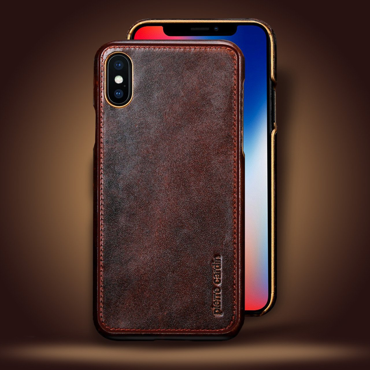 Pierre Cardin ® Apple iPhone X / XS Paris Design Premium Leather Case Back Cover - iPhone X / XS ...