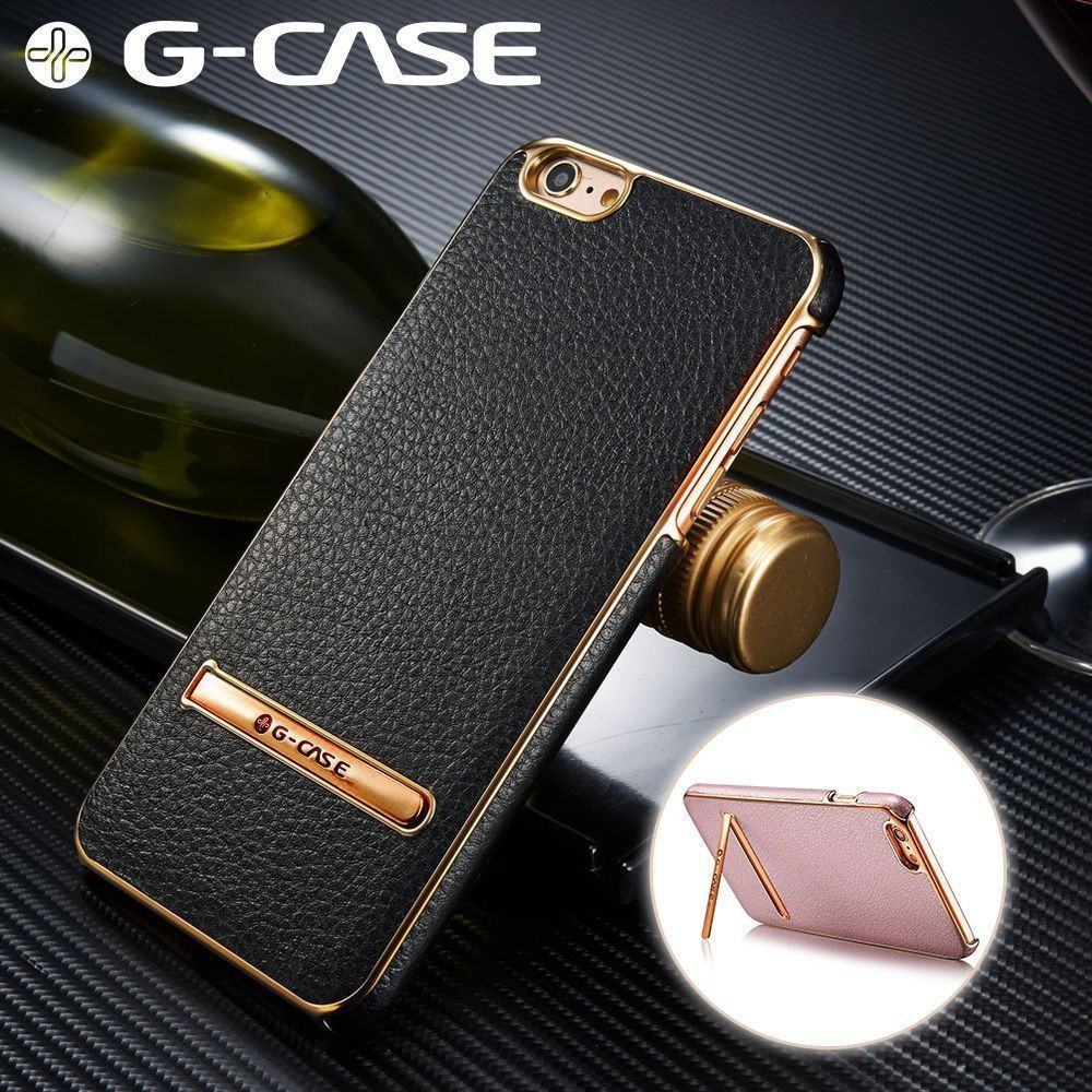 online store abd0a e24d4 G-Case ® Apple iPhone 6 Plus / 6S Plus Ultra-thin Leather with  Electroplating + Inbuilt Click Metal Stand Back Cover