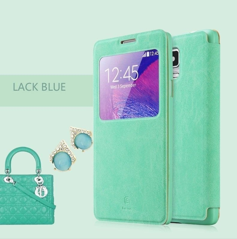 big sale b1092 8ddc5 Baseus ® Samsung Galaxy Note 4 Smart Terse WindowView Suede Leather Case  Flip Cover
