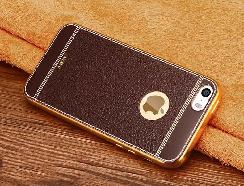 sale retailer 25e43 5c147 VAKU ® Apple iPhone 5S / SE / 5 Leather Stiched Gold Electroplated Soft TPU  Back Cover